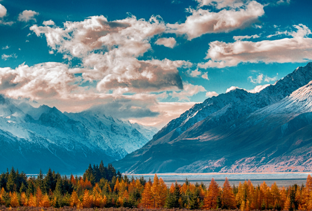 Landscape of Mountains and Clouds